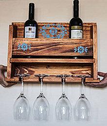 Dekorácie - Drevená polička na víno - 9761941_