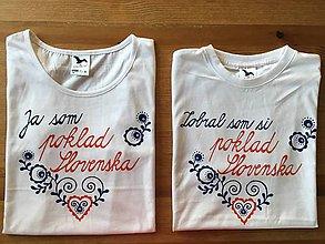 Tričká - Maľované tričká pre mladomanželov s ľudovým motívom a nápismi : (Zobral som si poklad Slovenska/ Som poklad Slovenska) - 9760009_