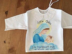 Detské oblečenie - Maľovanà krstná košieľka s bábätkom v náručí Panny Márie - 9760019_