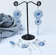 Náušnice - Svadobné visiace náušnice 'Ľadovo-modré kryštály' / Ag 925 so Swarovski® kryštálmi - 9763372_