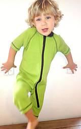 Detské oblečenie - Krátký rastúci overal - 100% LETNÁ MERINO VLNA, krátký rukáv - výber farieb - 9762881_