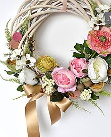 Dekorácie - Veniec svadobný, či sviatočný - Ružovobéžový Natur. - 9764215_