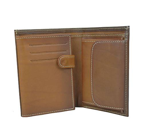 Pánska kožená peňaženka v hnedej farbe, ručne tieňovaná