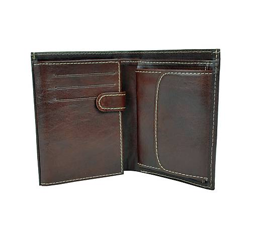 Pánska kožená peňaženka v tmavo hnedej farbe