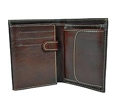 Tašky - Pánska kožená peňaženka v tmavo hnedej farbe - 9762644_