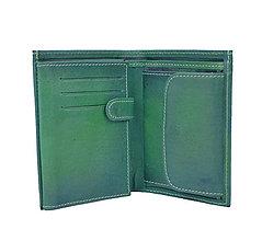 Tašky - Pánska kožená peňaženka v tmavo zelenej farbe, ručne tieňovaná - 9762690_