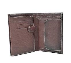 Tašky - Pánska kožená peňaženka v tmavo hnedo-fialovej farbe, ručne tieňovaná - 9762755_