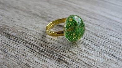 Prstene - Živicový prsteň s kvietkami (zelené kvietky č. 2233) - 9762834_