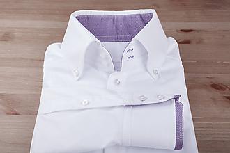 Košele - Košeľa Biela s fialovými detailmi / konfekčné - 9762963_