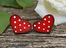 Náušnice - Heart dots mini // Red - 9762541_
