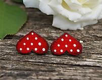 Náušnice - Heart dots mini // Red - 9762543_