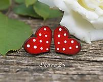 Náušnice - Heart dots mini // Red - 9762725_