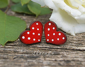 Náušnice - Heart dots mini // Red - 9762725_