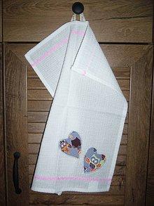 Textil - Detské uteráčiky dievčenské - šedé srdiečka - 9762931_