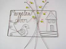 Tabuľky - tabuľka na dvere -domček  (pozinkovaný drôtik) - 9766222_