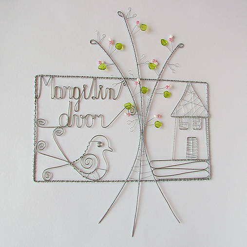 tabuľka na dvere -domček  (pozinkovaný drôtik)