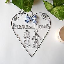Dekorácie - svadobné srdce s perličkami  20cm  (Modro-biela) - 9766233_