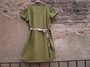 Šaty - Lněné šaty - olivově zelené - 9764919_
