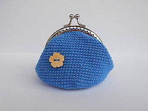 Peňaženky - Háčkovaná modrá mincovka - 9766653_