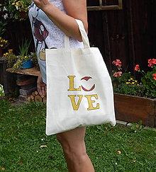 Nákupné tašky - Plátená nákupná taška - LOVE zľava z 8,50 - 9766818_