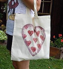 Nákupné tašky - Prírodná nákupná taška - Srdce zľava z 8,50 na 5,50 € - 9766824_