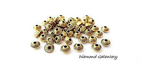 Korálky - Korálka zlatá 6 x 4 mm - 9765270_