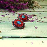 Náušnice - Red&Blue earrings- vyšívané náušnice - 9767113_