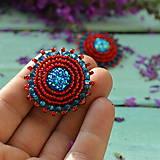 Náušnice - Red&Blue earrings- vyšívané náušnice - 9767114_