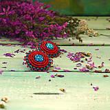 Náušnice - Red&Blue earrings- vyšívané náušnice - 9767115_