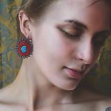 Náušnice - Red&Blue earrings- vyšívané náušnice - 9767116_