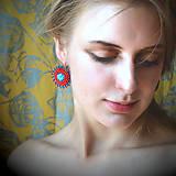 Náušnice - Red&Blue earrings- vyšívané náušnice - 9767118_