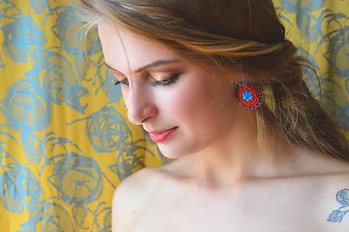 Red&Blue earrings- vyšívané náušnice
