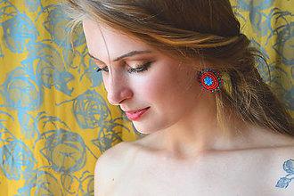 Náušnice - Red&Blue earrings- vyšívané náušnice - 9767117_