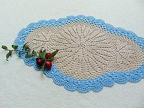Úžitkový textil - Béžovo-modrá háčkovaná dečka - 9766791_