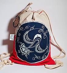 Batohy - Mini batoh MODROTLAČ červený vtáčik - 9764437_