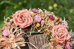 Dekorácie - Veľký prírodný veniec s ružami - 9764649_