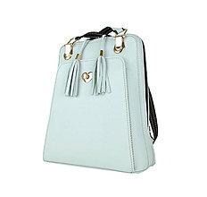 Batohy - Kožený ruksak z pravej hovädzej kože, perlová farba - 9764625_