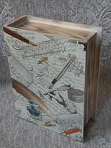 Dekorácie - Originální krabička kniha - Kalamář a pero bílá - 9764890_