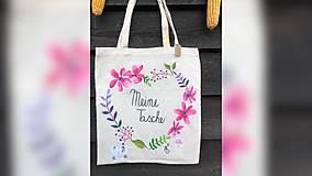 Iné tašky - ♥ Plátená, ručne maľovaná taška ♥ - 9764907_