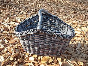 Košíky - šedý košik s drevenou rúčkou - 9765355_