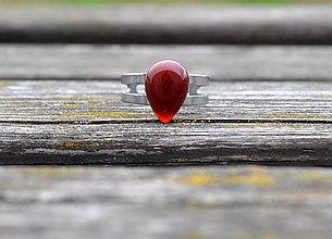 Prstene - prsteň červený achát oceľový - 9767251_