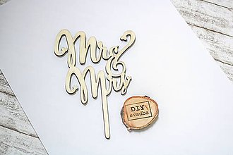 Polotovary - Drevená zapichovačka na tortu - Mr&Mrs - 9766034_