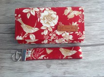 Peňaženky - Peňaženka- zlaté ruže - sada s kľúčenkou (Červená) - 9767193_
