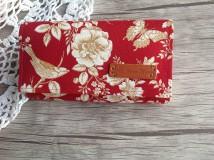 Peňaženky - Peňaženka- zlaté ruže - sada s kľúčenkou (Červená) - 9767194_