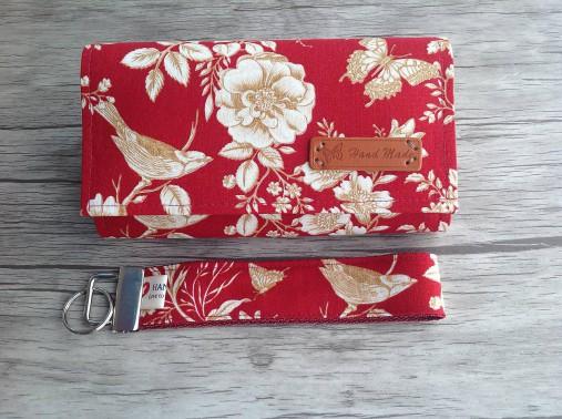 Peňaženka- zlaté ruže - sada s kľúčenkou (Červená)