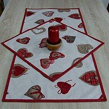 Úžitkový textil - Bordo srdiečka s gombíkmi - obrus obdĺžnik - 9766883_