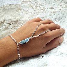 Náramky - Hand chain (akvamarín) - 9767257_
