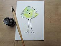 Kresby - Zelený vtáčik II. - 9765860_