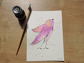 Kresby - Fialový vtáčik I. - 9765661_