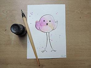 Kresby - Fialový vtáčik II. - 9765667_